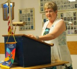 Rotarian Betty Vanden Bosch introduces the Paul Harris Fellowship recipients in Chesterville.