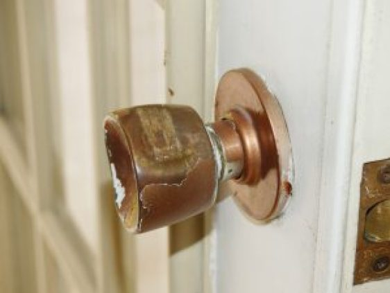 The intruders forced the door open by damaging this doorknob at the South Street home. Zandbergen photo, Nation Valley News