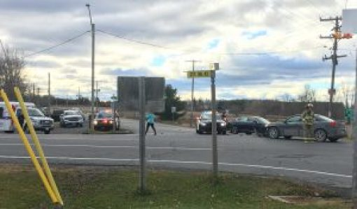 Avonmore crash — This car crash at the intersection of County roads 43 and 15. Lascelle photo, Nation Valley News