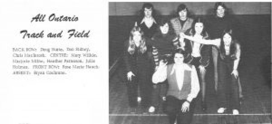 The late Rosemarie Hauch poses with the NDDHS track team in this photo from the 1973 yearbook.
