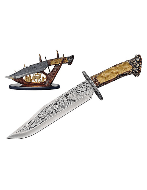Engraved Deer Knife With Simulated Deer Antler and Stand