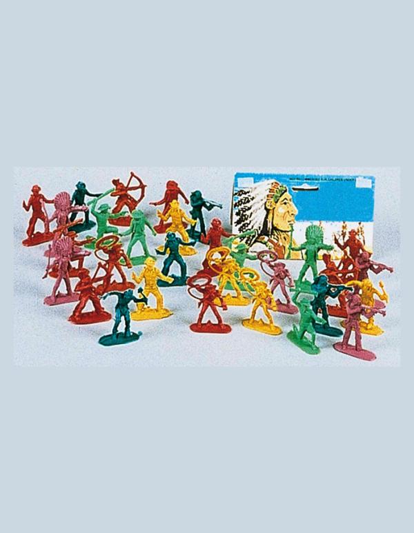 Plastic Cowboy Indian Plastic Figures Play Set