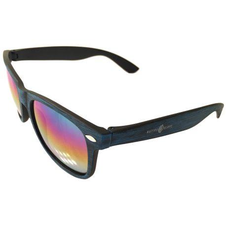 Native Slope Sunglasses - Woodtone Malibu Blue - Mirrored Lens