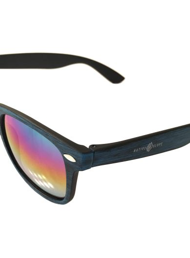 Native Slope Sunglasses - Woodtone Malibu Blue - Mirrored Lens