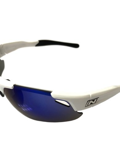Optic Nerve Neurotoxin 3.0 Sunglasses - Shiny White - Smoke Blue Mirror XTRA Lens