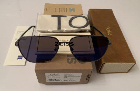 TOMS Irwin 201 Aviator Sunglasses - Gunmetal Frame - Deep Blue Mirror POLARIZED Lens