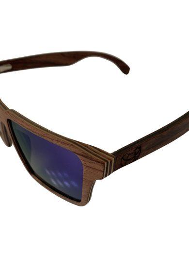 NEW Earth Wood Piha Sunglasses - Zebra Wood POLARIZED Blue Mirror