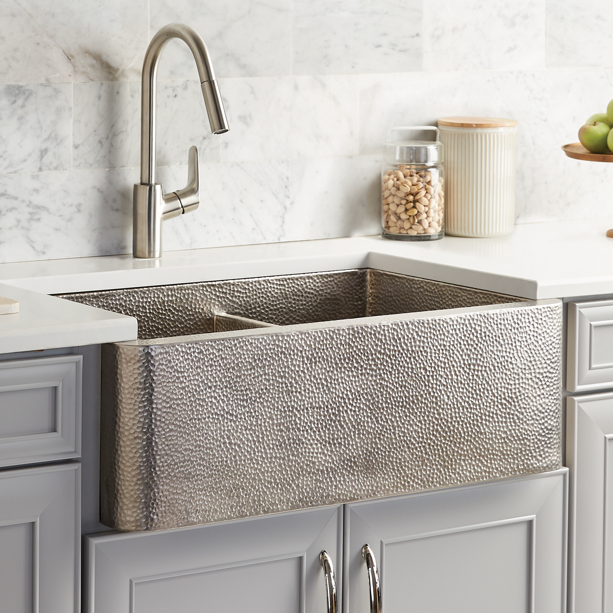 native trails farmhouse duet 33 nickel farmhouse sink 60 40 double bowl brushed nickel cpk576