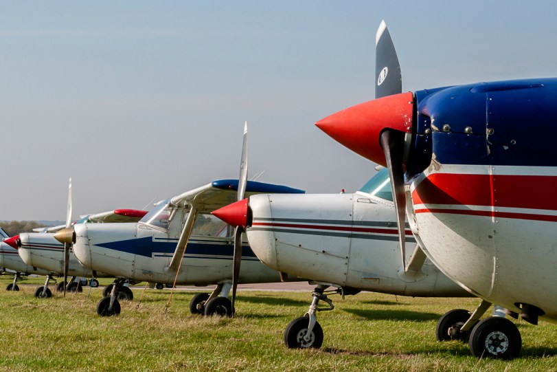 Cessna 152s Tied Down and Parked at Private Airfield