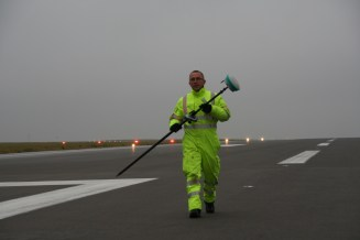 Working on the runway
