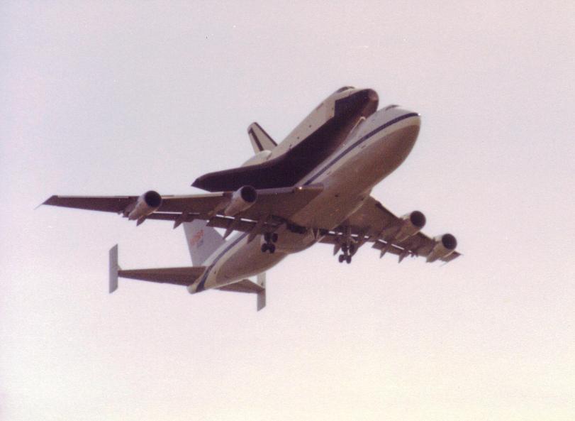 B747 & Shuttle Enterprise Combo overflight 05-Jun-1983