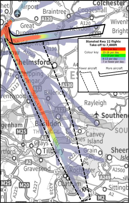 Today's Westerly (Runway 22) Stansted  departures up to 7,000ft, used 70% of the time.