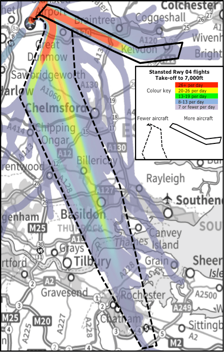 Today's Easterly (Runway 04) Stansted  departures up to 7,000ft, used 30% of the time.