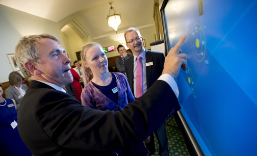 Robert Goodwill MP, Aviation Minister; NATS trainee ATCO, Kim Giles; and NATS CEO, Richard Deakin