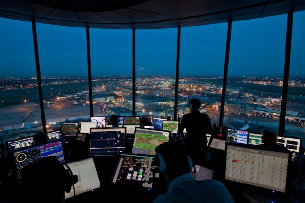 Heathrow Airport at night - the world's busiest two runway airport.