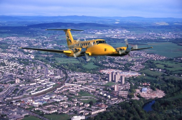 Stunning picture sent to us of a fixed wing Beech 200 Kingair departing Aberdeen Airport