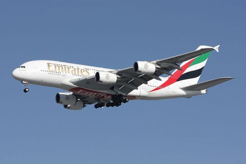 """""""A380 Emirates A6-EDC"""" by Quentin Douchet - Own work. Licensed under CC BY-SA 3.0 via Wikimedia Commons"""