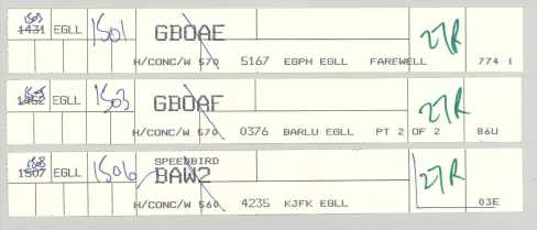 The flight strips from the last Concorde flights out of Heathrow in 2003