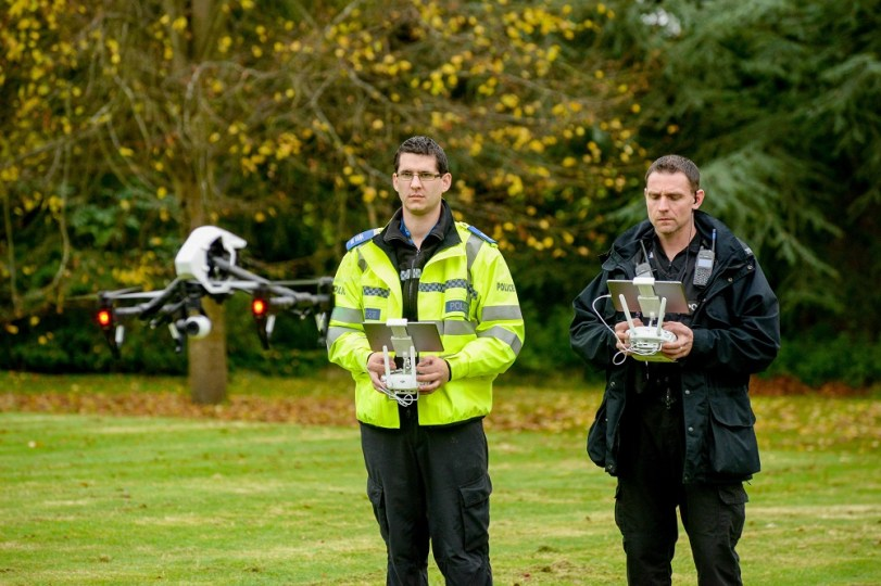 Police demonstration of the use of drones within the police force. Warwickshire Police HQ, Leek Wootton.