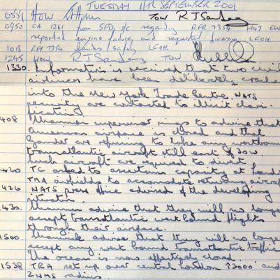 The London Area Control supervisor's logbook page 1