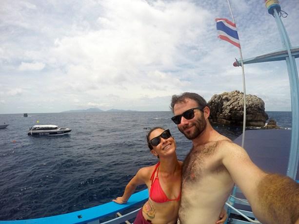 in between dives at Sail Rock
