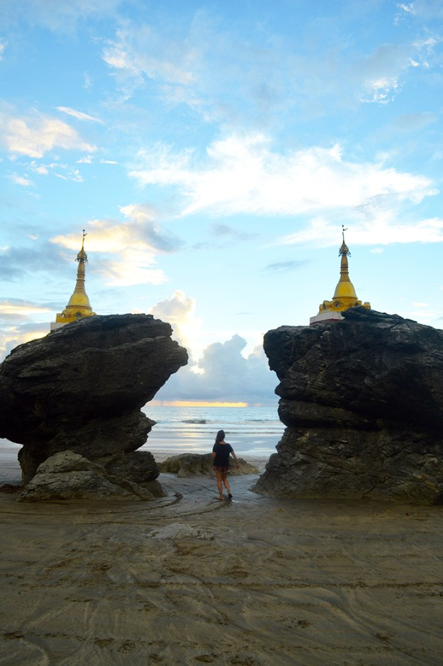 double pagodas on the beach in Myanmar