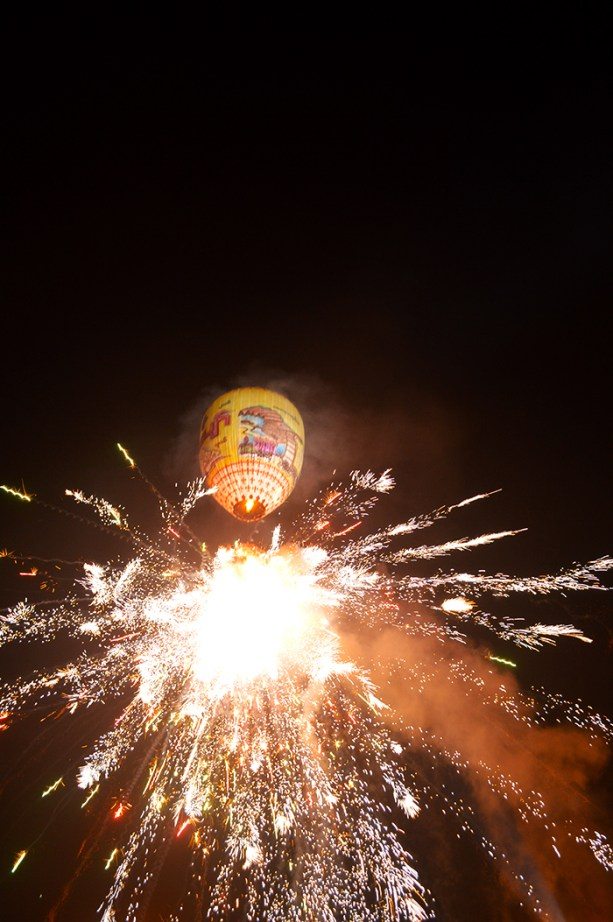 Hot air balloon and fireworks