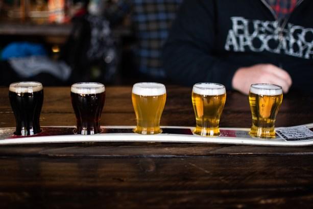 sampling beers at South Lake Brewing
