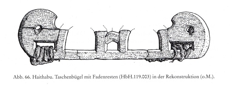 Illustration of sample from the Haithabu excavation that was found with textiles fragments attached