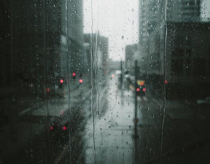 visibility through glass while raining