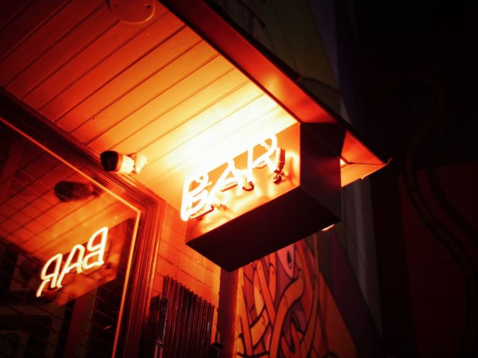 neon sign of bar