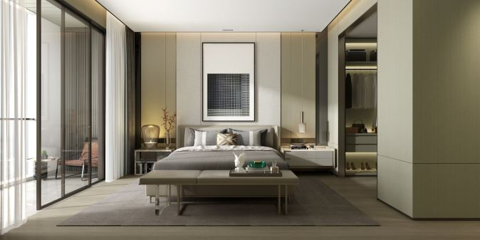 image of a room with bed using 60-30-10 rule