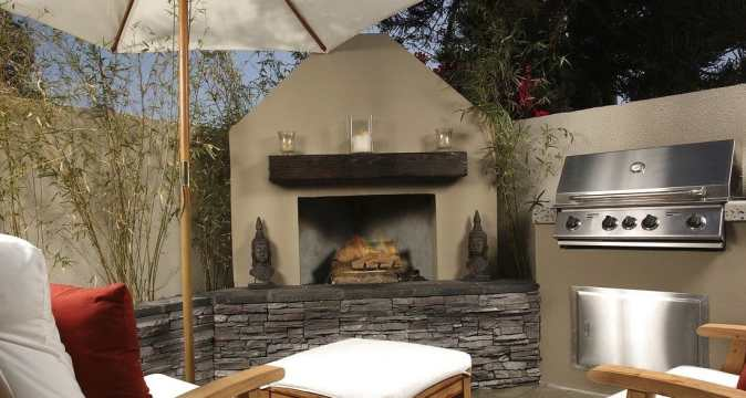 photo of fireplace outdoors