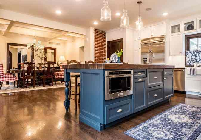 image of a beautiful modular kitchen in blue tint