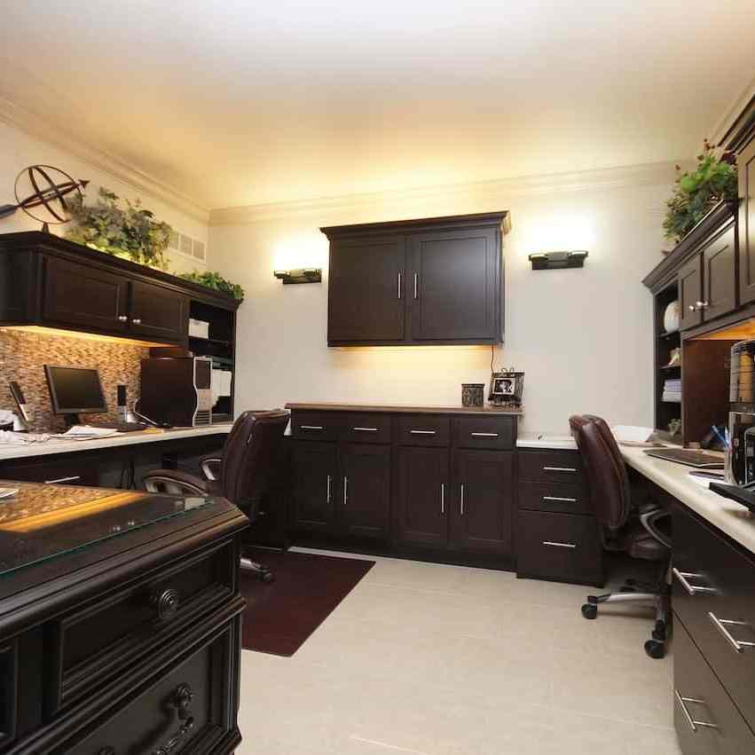 office with storage wooden cabinets