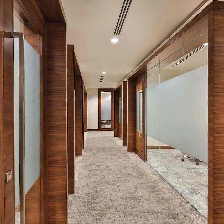 workplace rooms in wooden and glass fittings