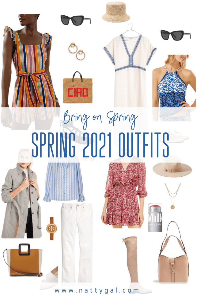 Brrrrr!  Most of the US found itself in a tremendous cold snap this week.  That combined with the snow globe view out my window got me daydreaming about spring.  Let these Spring 2021 outfits inspire you and keep you focused on the warmer, sunnier days ahead!