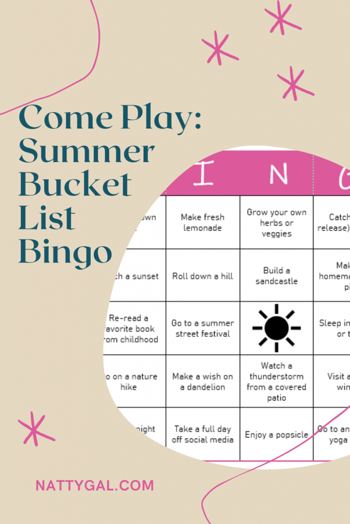 Woo-hoo!  As of yesterday, the summer season is FINALLY officially underway.  After remaining pretty low-key last year, you can be certain that this year everyone wants to try to do all the things. We're actually out of town on our first little summer getaway this week, so today's post is short and features a silly game of BINGO for your summer inspiration!