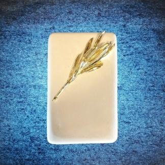 Press Papier κλαδί ελιάς επίχρυσο Λευκό 12x8x2