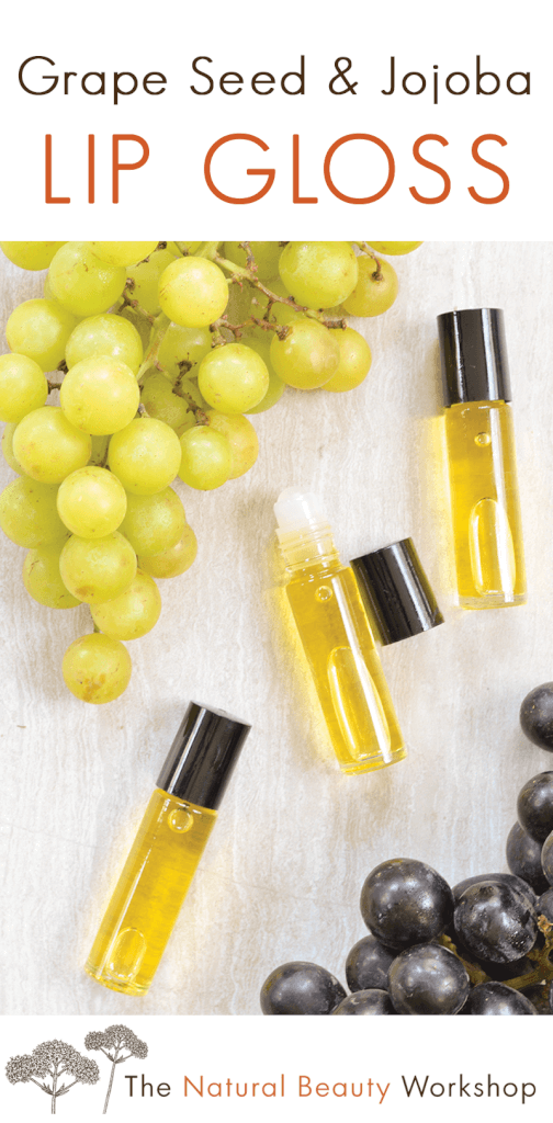 How to make Grape Seed Jojoba Lip Gloss - an oil-based roller gloss made with Grape Seed and Jojoba