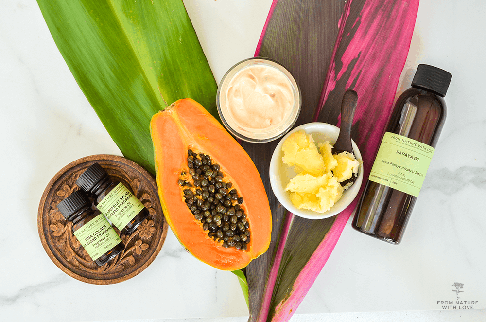 How to Make Mango Papaya Body Lotion- a light and fragrant all-over moisturizer made with papaya seed oil and mango butter