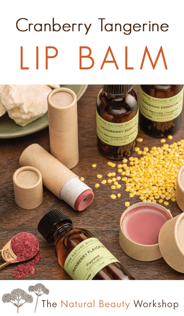How to make Cranberry Tangerine Lip Balms - sweet tart scented balms with a sheer tint