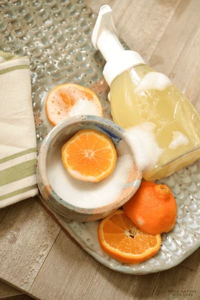 How to make Citrus Mint Foaming Hand Soap - a simple kitchen soap scented with energizing mint and citrus oils