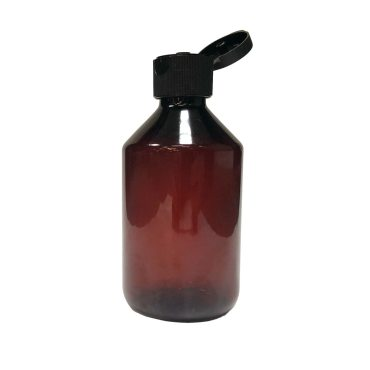 28mm Amber Veral Plastic bottle for cosmetics with 28mm black flip top cap