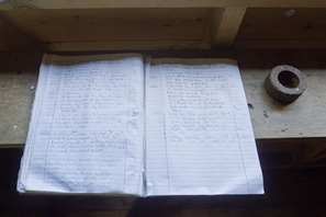 The sightings record book.