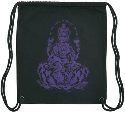 Schwarzer Yoga Gymbag mit Motiv der indischen Göttin Lakshmi in Lila.