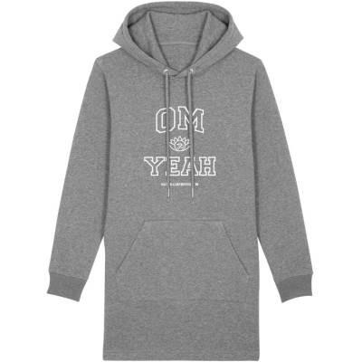 Grauer Long Hoodie mit Om Yeah Aufdruck für Yoga.