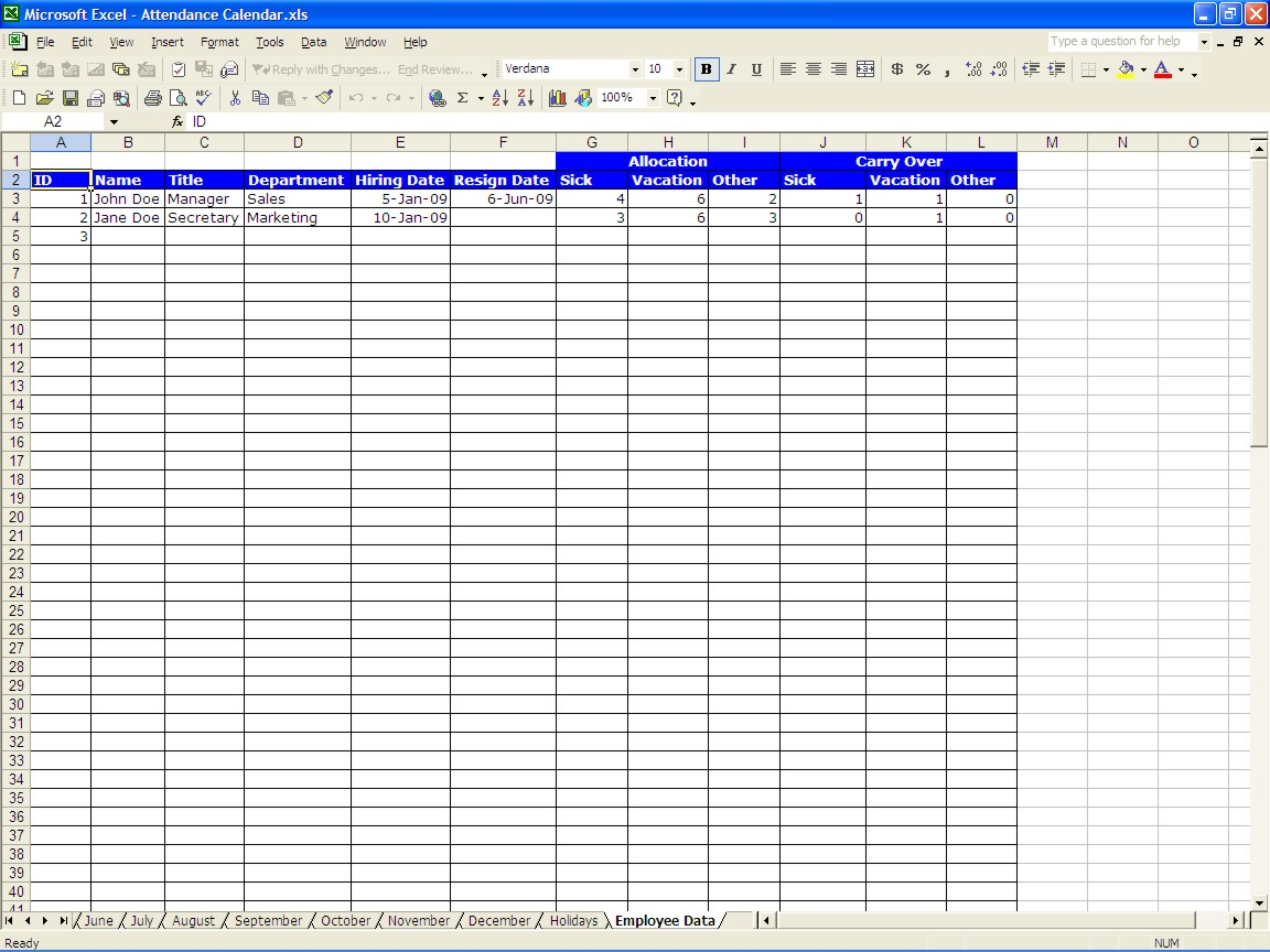 Employee Vacation Accrual Spreadsheet