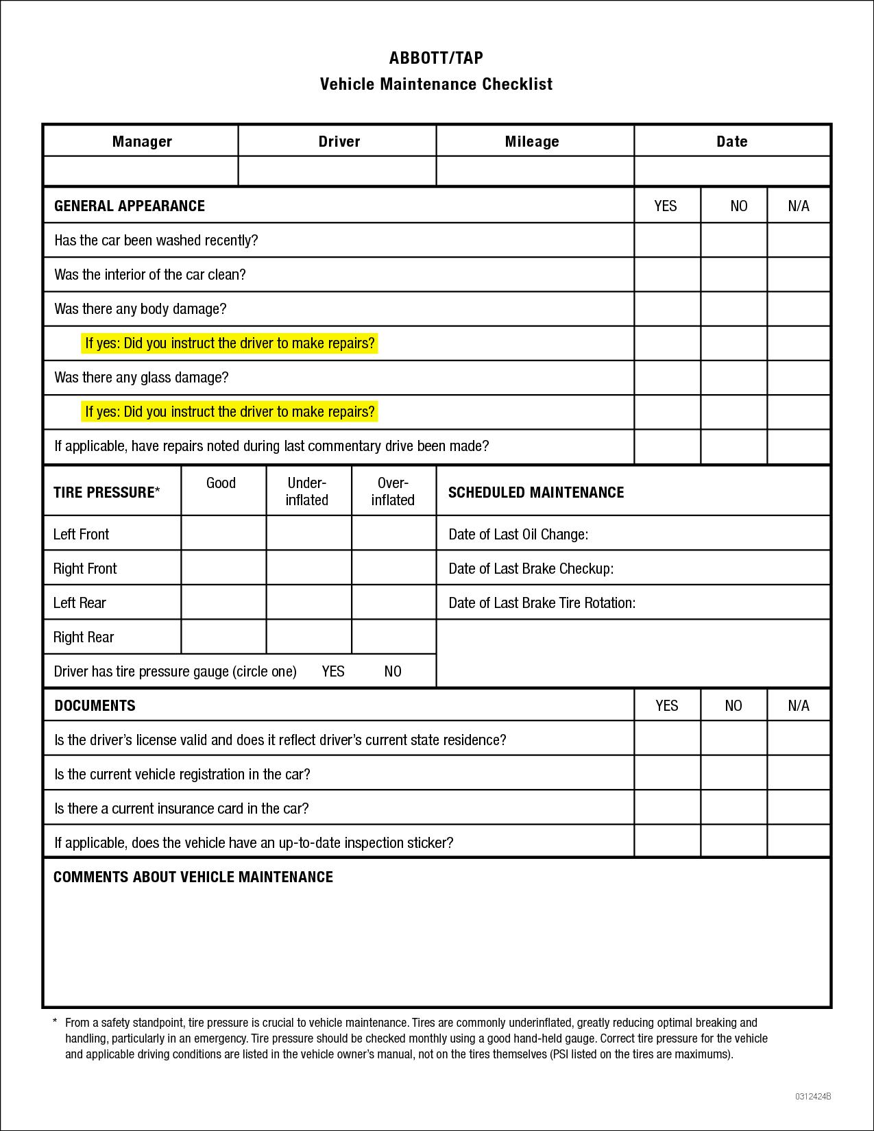 Yearly Car Maintenance Checklist