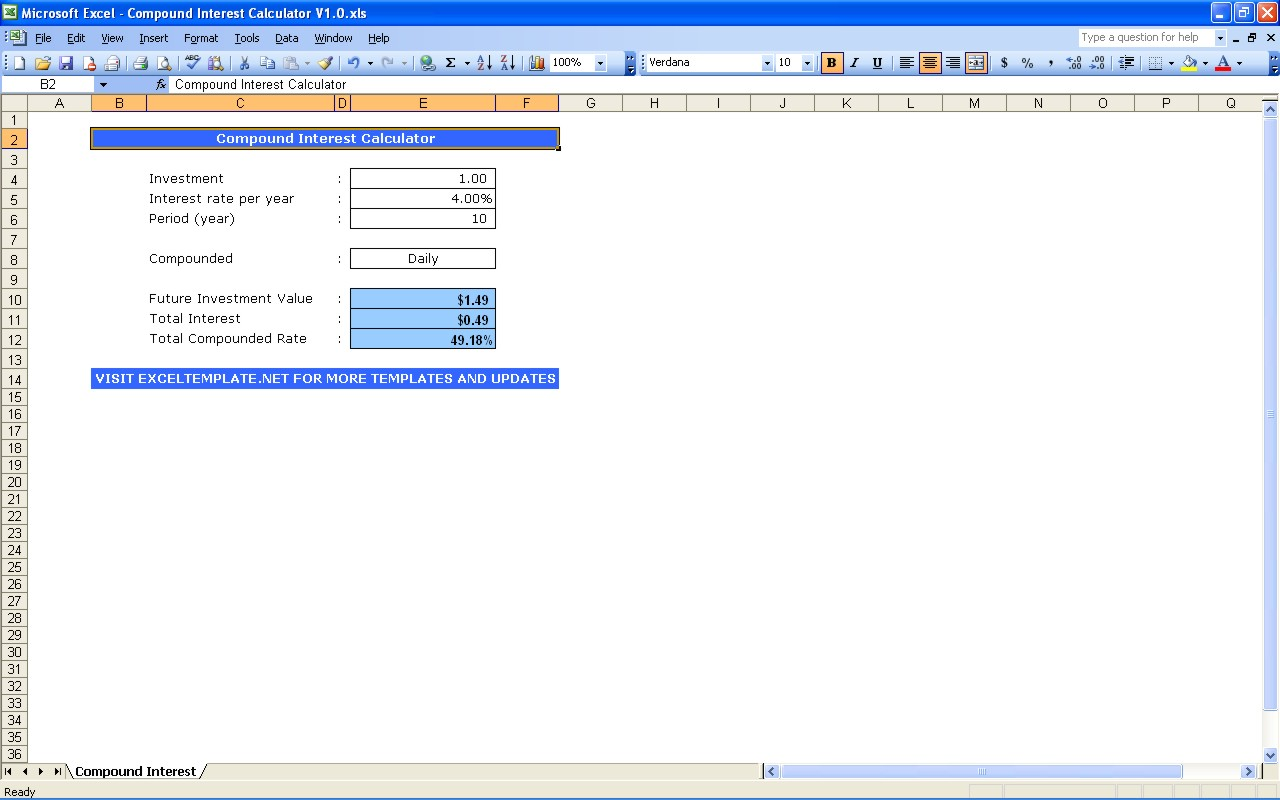 Compound Interest Calculator Spreadsheet